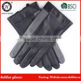 Men's Leather Gloves Helilai Factory Grey and Black Contrast Color Leather Gloves with Cashmere Lining
