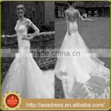 AR10 Bridal Lace Bodice Long Sleeves Mermaid Illusion Wedding Bridal Dress with Long Train