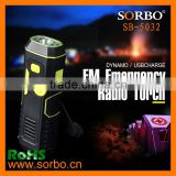 Newest FM Emergency Radio Torch/Portable Hand Cranking Flashlight with Mobile Charger for Outdoor and Indoor