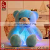 Pomotional customized stuffed white plush LED teddy bear toy with dotted bowtie for Valentine' Day                                                                         Quality Choice