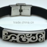 Retro Black Leather Mens Bracelets Ornaments Hollow Spindrift Design Stainless Steel Butterfly Clasp Bangles For Men