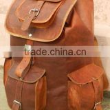 real leather ruck sack bags/pure leather back pack in vintage style