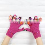 Lovely custom made knitted gloves finger puppet kids gloves