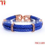 Genuine stingray skin leather mens bracelet with rose gold plating clasp, leather bracelet with diamond