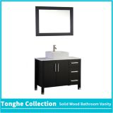 China Solid Wood Bathroom Cabinetry Espresso Painting White Stone Top