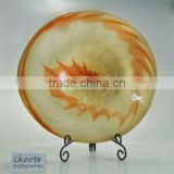 wholesale colored glass plates;hand painted home decorative chinoiserie art glass wall plate;hand blown glass wall art