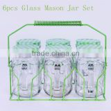 6pcs colorful glass mason jar set with straw with metal rack
