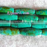 "wholesale 16"" 12*33mm columned green loose turquoise beads"
