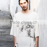 The Chinese style summer new loose cotton and linen men round hem Chinese ink and wash printing half sleeve mens t shirt