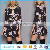 2017 Women clothing latest pretty black floral print round neck ladies playsuit long sleeves