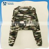 Women's custom full all over printing camo camouflage half sweatshirt crop top without hood