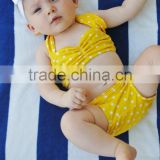 Hot sale!Baby girl swimwear white polka dots clothes set yellow bikini beauty product for 0-6 ys girls