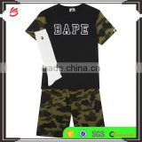2017 wholesale children's summer baby boy camo clothing set kids t shirt clothes cotton shorts and socks set