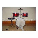 3 Piece Junior Red Acoustic Kids Drum Set Middle Size With Cymbal / Throne MU-3KM