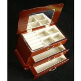 Wooden Jewelry Box with Mahogany Finish, Jewelry Storage Case, Hidden Mirror, Ringroll and Compartments for More Accessories