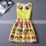 Funny printed dress/beautiful girl sleeveless knee length printed dress/new design girl printed dress