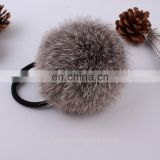 Factory wholesale elastic hair rubber tie with rabbit or faux fur ball for girls and women