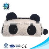 Top selling Low MOQ pencil bag with zip custom fashion cute plush panda wholesale pencil case
