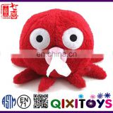 Professional customized plush octopus tissue holder red tissue box