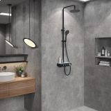 AT-P005B-2 bathroom shower systems with platform Foshan supplier black colour luxury rain shower 3 functions