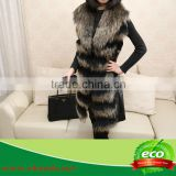 Real Luxurious Elegant Pretty Women Double Color Raccoon Hair and Rabbit Skin Coat On Sale