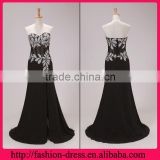 Sexy Beaded Sweethart Neckline Black Floor Length Side Slit Evening Dress