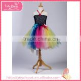 Fairy rainbow color silk material blossom knee skirt fluffy voile girl's dress children frocks designs