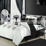 white and black cotton microfiber comforter set made in china                                                                                                         Supplier's Choice