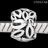 Vnistar hot seller antique silver plated round shaped beads with leaves stamped for european bracelet and DIY jewelry PBD3004