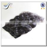 Wholesale top quality clip in hair extension body wave natural black 100% virgin brazilian human hair