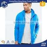 Leisure 100% cotton blue zip up with hood pocket custom made hoodies