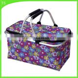 Oxford folding shopping basket outside sports insulation picnic cooler bag                                                                                                         Supplier's Choice