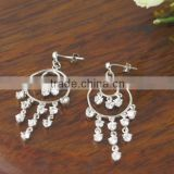 Fashion CZ stone chandelier design earring in brass