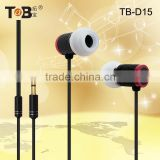 Mobile accessories 2015 hot item deep bass metal earbuds with 9mm speaker and flat cable