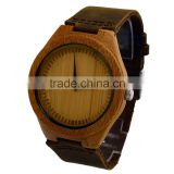Top Quality Luxury Bamboo Wood Watch with Cow Leahter Strap Quartz Analog Men Wooden Wristwatch Relogio Feminino Clock