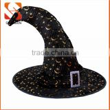 SJ-L6027 Moon star print Felt Halloween witch hat with belt