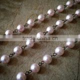 100cm Round Pearl Rose Pink Bead Necklace Chain 8mm Bead Antique Bronze Chain Jewelry Making Supplies