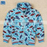 (A3482)Blue2-6Y Nova hot selling children winter wear cartoon baby boy coat boys jackets with zipper cartoon cars printed 2015