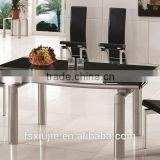 L808B 12mm thick extending glass dining tables with chairs black