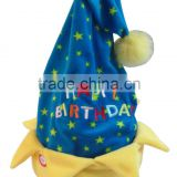 2015 new birthday gift music novelty hat top swinging and recording Function with Singing blue star Birthday hat