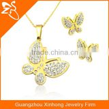 Fashion 2016 Europe and America Gift Stainless steel butterfly Necklace and Earrings Jewelry Set
