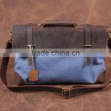 Vintage and Retro messenger bag business bag canvas bag unisex leather leisure bag waxed canvas bag