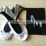 PU Leather White Foldable Ballet Flat Shoes With Drawstring Bag