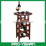 Wooden Wine Bottle Table Rack Holder with 4 Tiers 4 Legs 1 Round Board and Durable Structure for Home Bar Hotel Storage Display