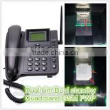 NEW Dual sim card GSM wireless desktop telephone table phone with sim card with SMS radio battery Multi-language                                                                         Quality Choice