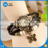 Customize Women Vintage Hand Knit Bracelet Hand-Woven Leather Watch Butterfly Pendant Quartz Watches China Factory Price VW015