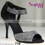 Suphini Black Satin Lightweight Shine Tango Salsa Dance Shoes
