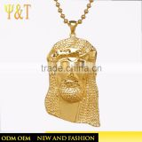 Jingli Jewelry style jesus statues for sale, hip hop gold plated jesus heads stone pendants