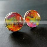20mm silver plated rainbow galaxy universe art collage round glass cabochon fashion cufflinks wedding cuff links gift 6600059