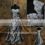 RSE93 Silver Grey Vintage Lace Mother Of The Bride Dress With Jacket